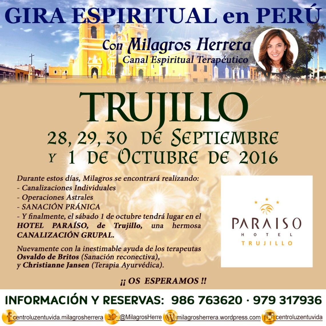 Milagros Herrera Canal Espiritual Terapéutico, reservas Gira Espiritual en Perú: 986 763 620 y 979 317 936