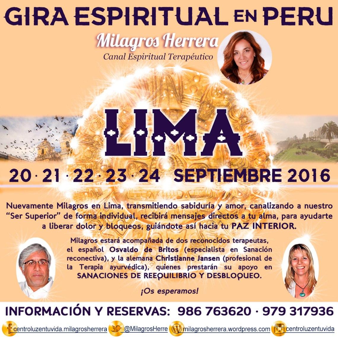 Milagros Herrera, Canalizadora Espiritual, en Lima reservas al: 986 763 620 y 979 317 936.