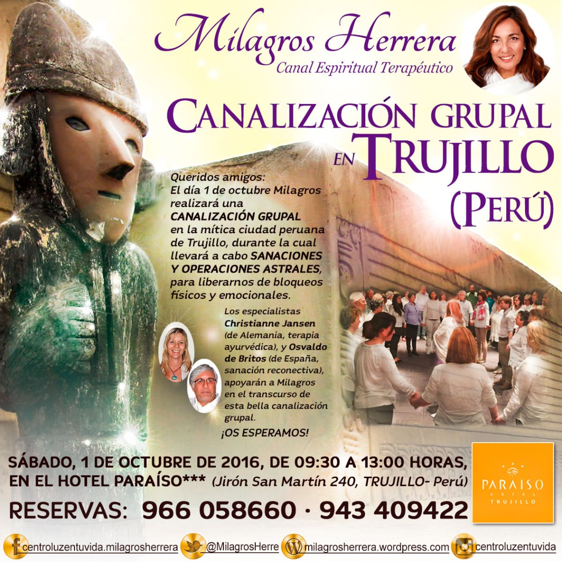 Milagros Herrera Canal Espiritual Terapéutico, citas individuales y grupales.